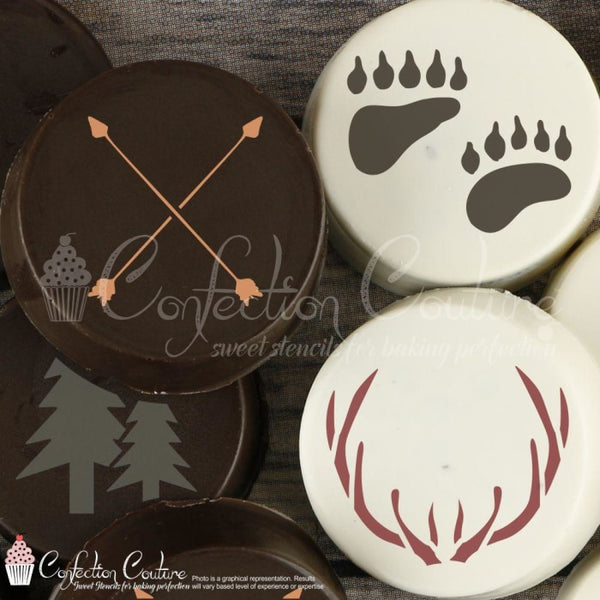 Woodland Round Cookie Stencil 3 Pc Set