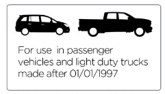 For use in passenger vehicle and light duty trucks manufactured after 1997