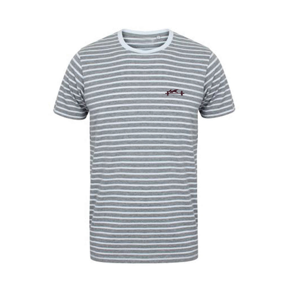 Grey and White stripe Casual Tee