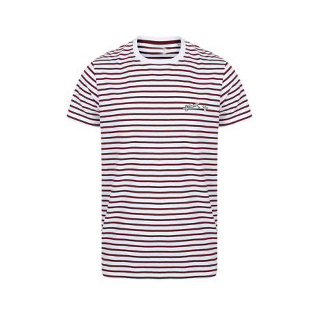Burgundy and White stripe Casual Tee