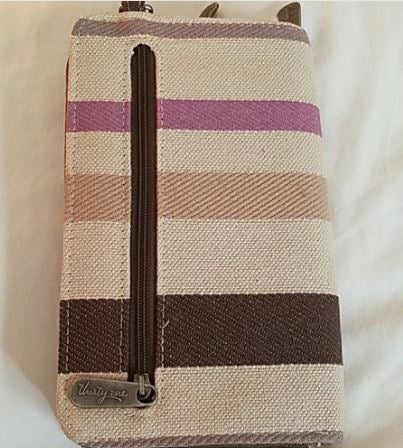 BRAND NEW Thirty One Perfect Cents Wallet Purple Twill Stripe