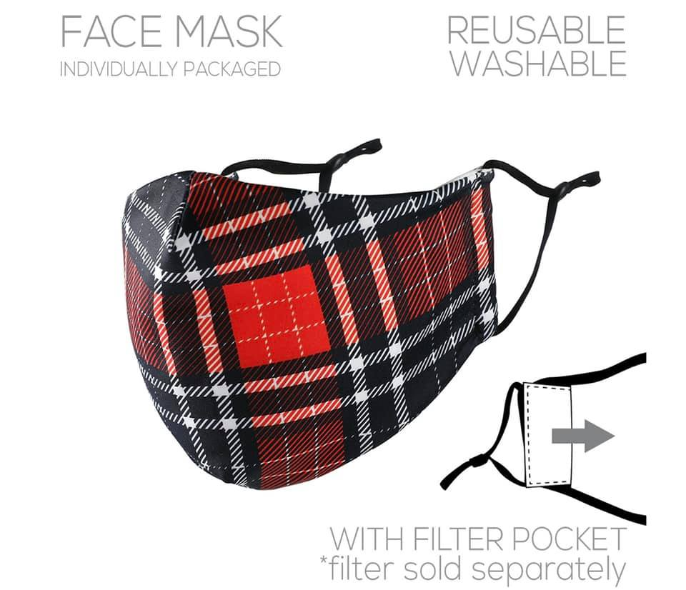 Red Plaid Face Cover