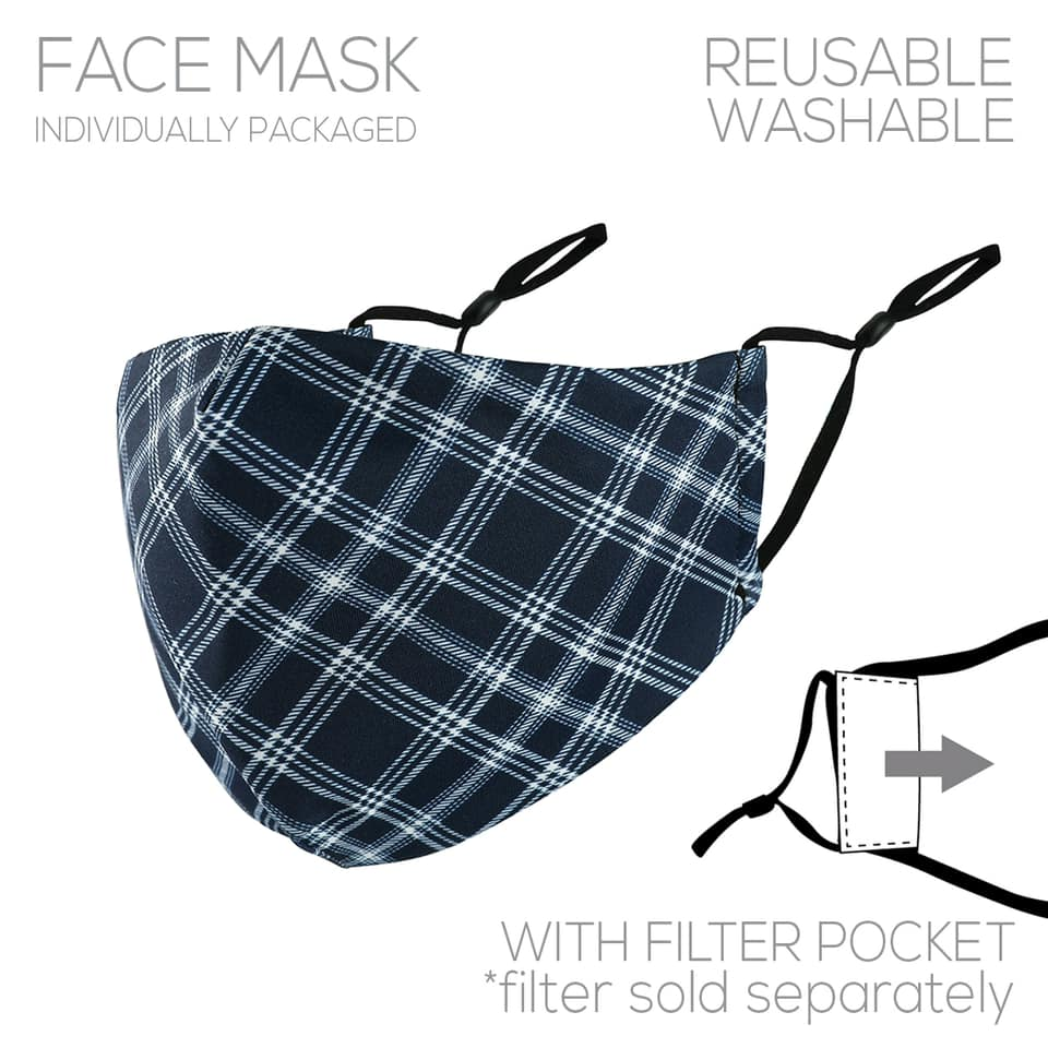 Blue Plaid Plaid Face Cover