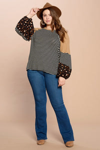 The Jessie Striped Knit Top with Contrast Cuffed Sleeves
