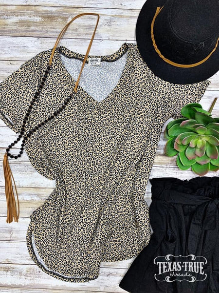 Shelbie Leopard Vneck Top