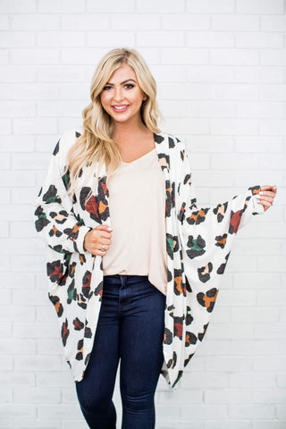 Shelbi Cardigan || White Leopard