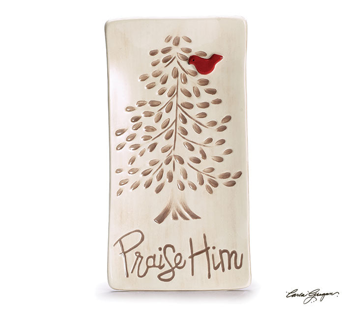 Praise Him Ceramic Tray w Tree
