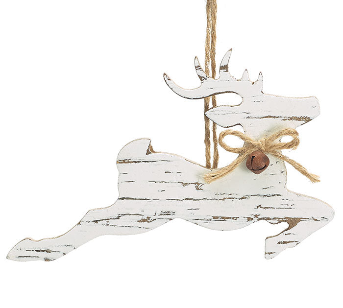 Distressed Wood Deer Ornament