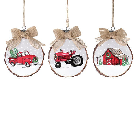 Wood Disc Farm Ornaments