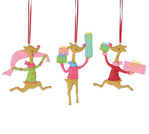 Deer Cheer Dancing Clay Ornament