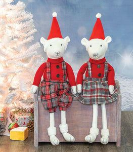 Christmas Plaid Mouse Dangle Legs