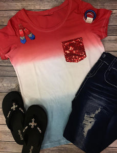 The Patriotic Sequin Pocket Tee