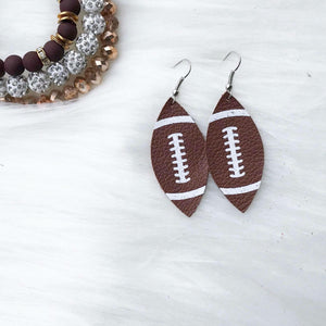 Leather Football Earrings