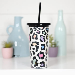 Rainbow Leopard Glitter Tumbler with Straw