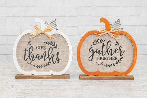 Give Thanks || Gather Together Tabletop Pumpkin