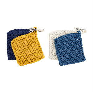 Indigo Crochet Pot Holder Set