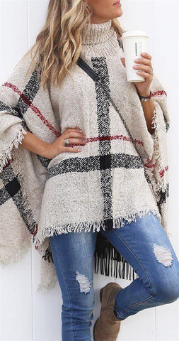 The Holiday Plaid Poncho