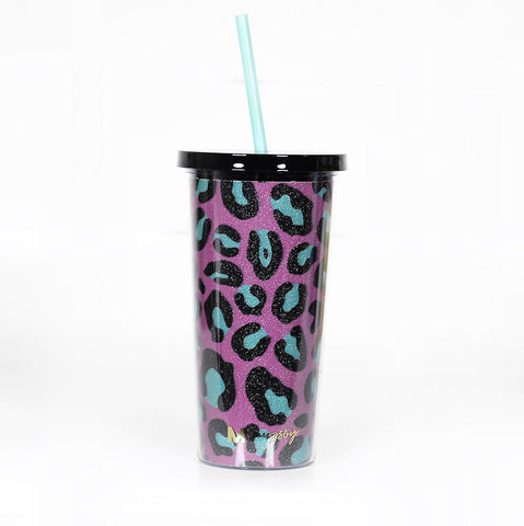 Pink + Teal Leopard Glitter Tumbler with Straw