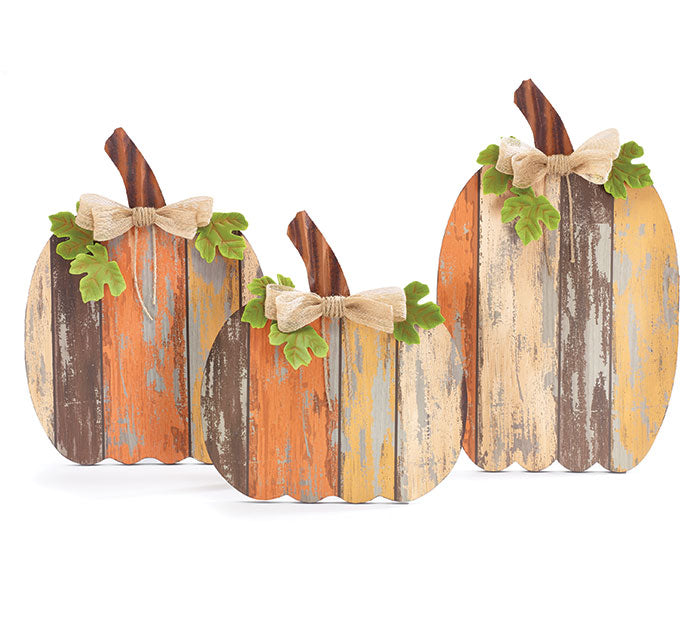 Wood Slat Pumpkin L