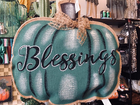 Pumpkin Thankful Blessings Hanger