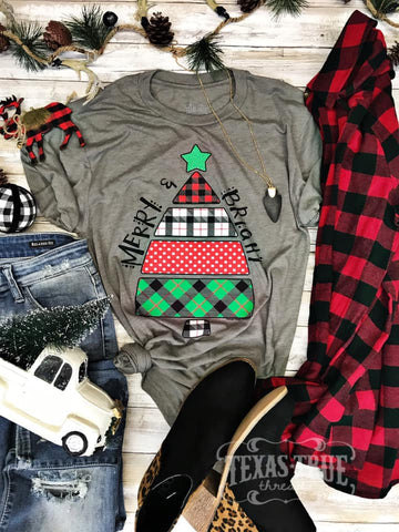 Merry & Bright Plaid Tee