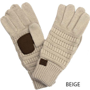 Beige Touch Screen Knit Gloves