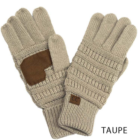 Taupe Touch Screen Knit Gloves