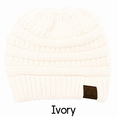 Ivory CC Knitted Messy Bun Beanie