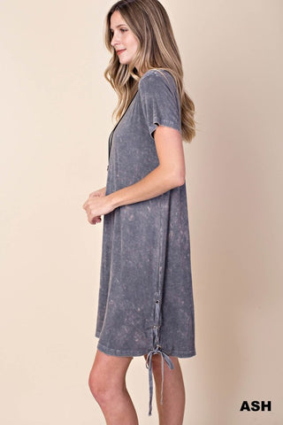 Mineral Wash Side Tie Dress