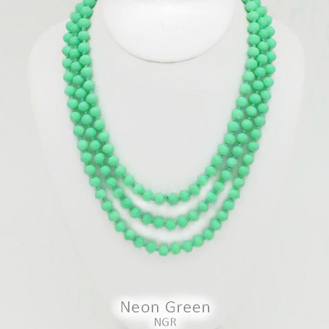"60"" Bead Necklace - Neon Green"