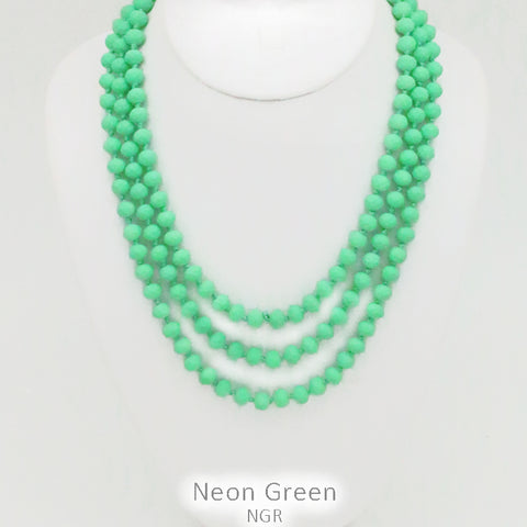 "Neon Green 60"" Bead Necklace"