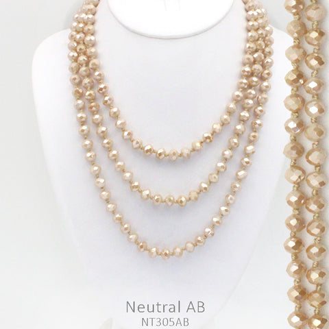 "60"" Bead Necklace - Beige"