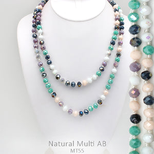 "60"" Bead Necklace - Multi Pastel"
