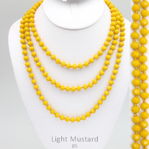 "60"" Bead Necklace - Light Mustard"