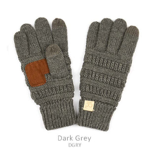 Kids CC Knitted Touchscreen Gloves ||  Dark Grey
