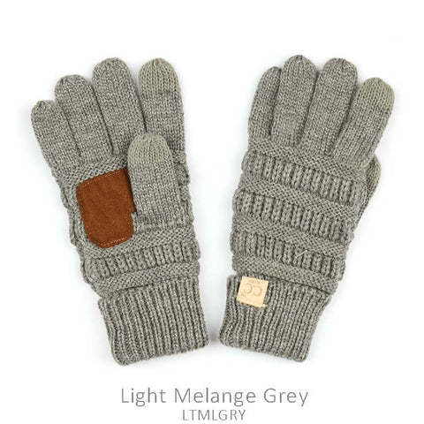 Kids CC Knitted Touchscreen Gloves ||  Light Gray