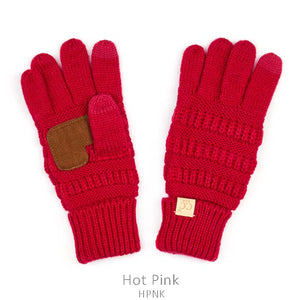 Kids CC Knitted Touchscreen Gloves ||  Hot Pink