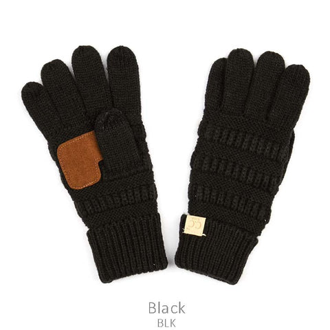 Kids CC Knitted Touchscreen Gloves ||  Black