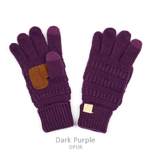 Kids CC Knitted Touchscreen Gloves ||  Purple