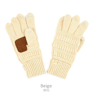Kids CC Knitted Touchscreen Gloves ||  Beige