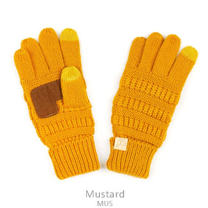 Kids CC Knitted Touchscreen Gloves ||  Mustard