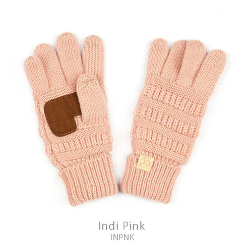 Kids CC Knitted Touchscreen Gloves ||  Light Pink