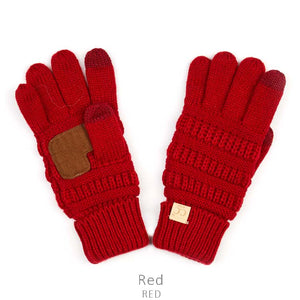 Kids CC Knitted Touchscreen Gloves ||  Red
