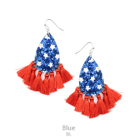 Stars & Tassels Earrings in Blue