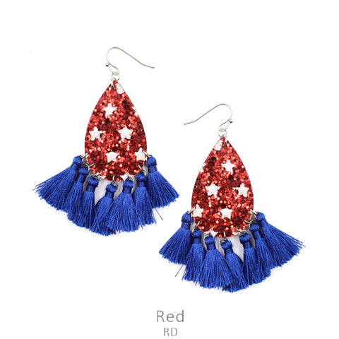 Stars & Tassels Earrings in Red