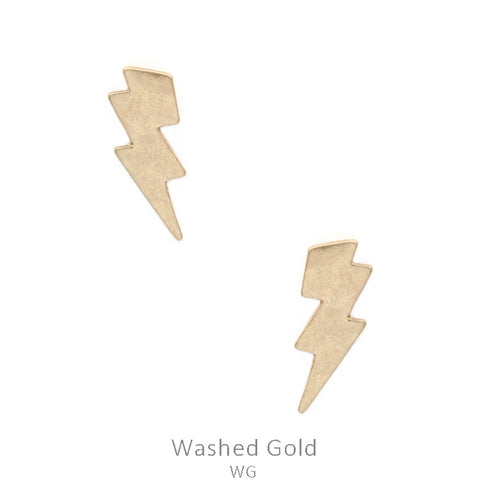 Washed Gold Thunderbolt Stud Earrings
