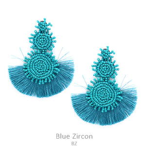 Bahama Nights Bead Drop Earrings with Tassel in Blue