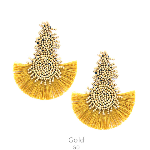 Bahama Nights Bead Drop Earrings with Tassel in Gold