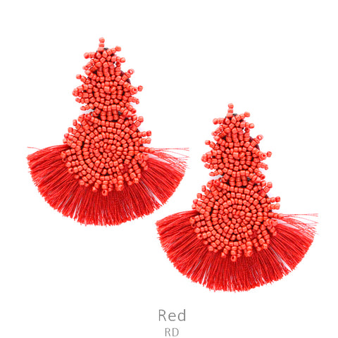 Bahama Nights Bead Drop Earrings with Tassel in Red