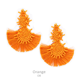 Bahama Nights Bead Drop Earrings with Tassel in Orange